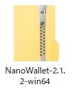 「Nano Wallet」という文字から始めるZipファイル