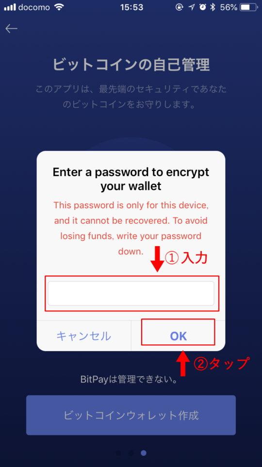 パスワードを入力し、「OK」を