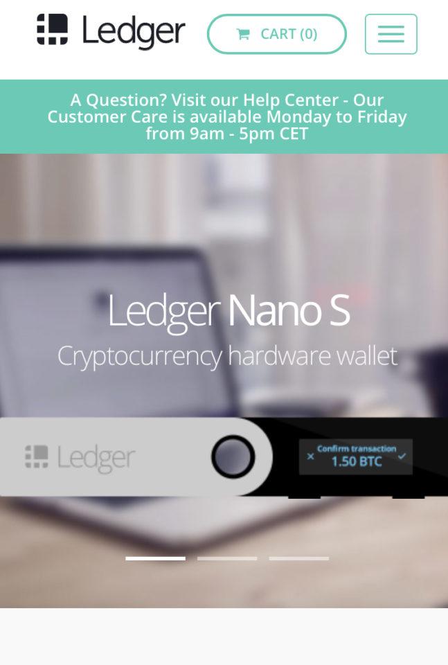 Ledger社のトップ画面