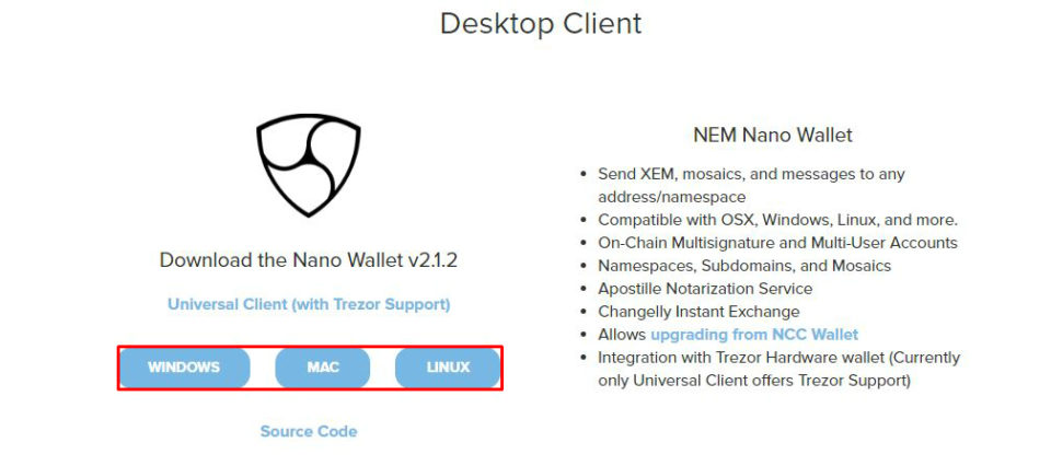 Nano Walletのダウンロード