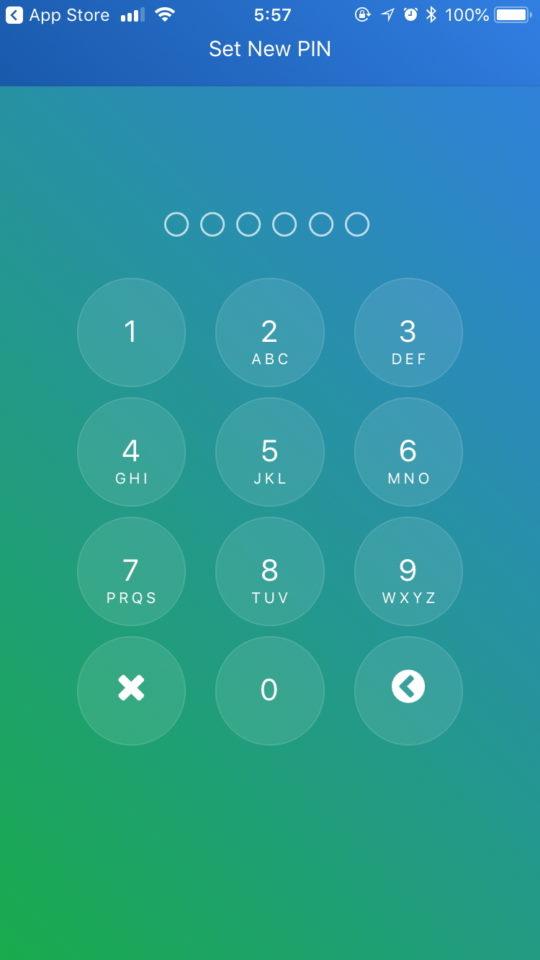 ウォレットにログインする際に必要な6桁のPINコードを設定