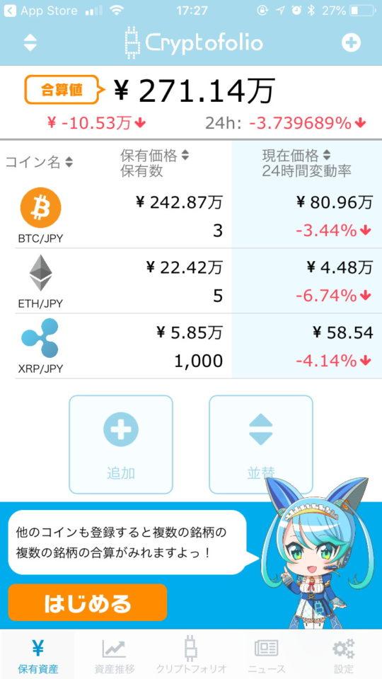 クリプトフォリオの保有資産の合算値表示画面